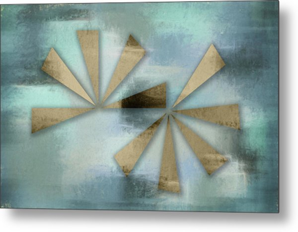 Rusted Triangles On Blue Grey Backdrop Metal Print