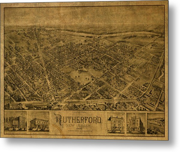 Rutherford New Jersey Vintage City Street Map 1904 Metal Print