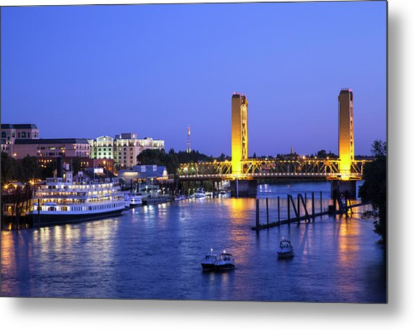 Sacramento River And Tower Bridge At Metal Print