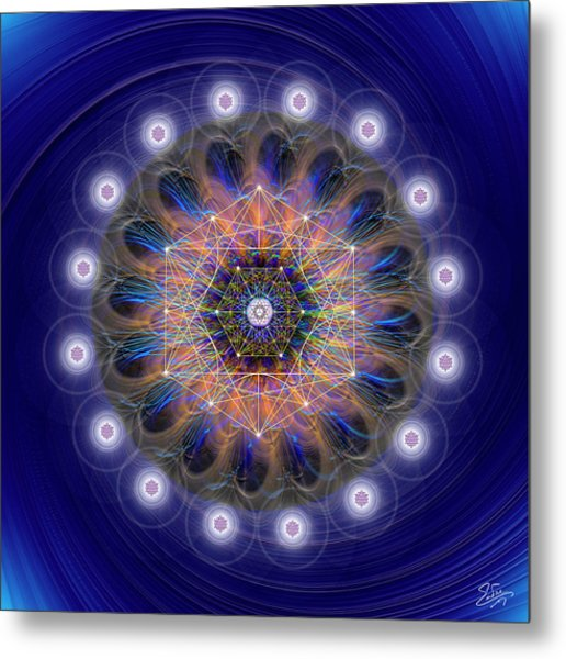 Metal Print featuring the digital art Sacred Geometry 726 by Endre Balogh
