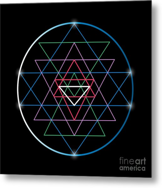 Sacred Geometry And Alchemy Symbol Sri Metal Print by Maddyz