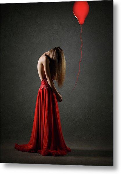 Sad Woman In Red Metal Print