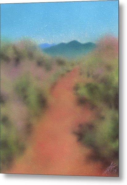 Sagebrush Path To Black Mountain Metal Print by Robin Street-Morris
