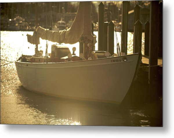 Metal Print featuring the photograph Sailboat In Morning Light by Mark Duehmig
