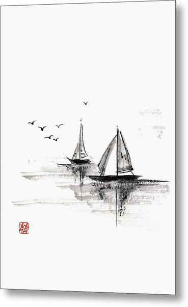 Sailboats On The Water Metal Print