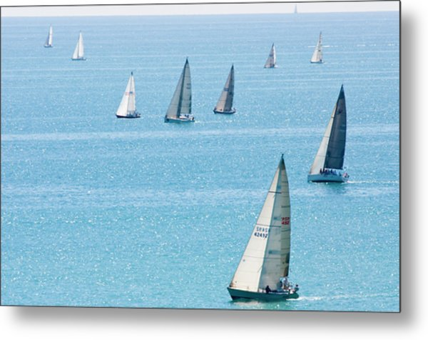 Sailboats Racing On Blue Water Metal Print by By Ken Ilio