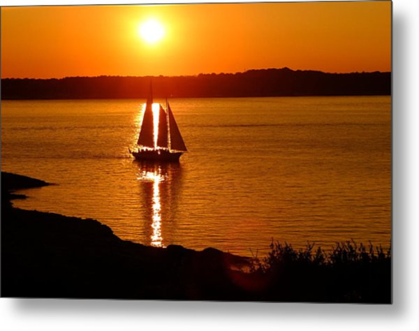 Sailing At Sunset Metal Print