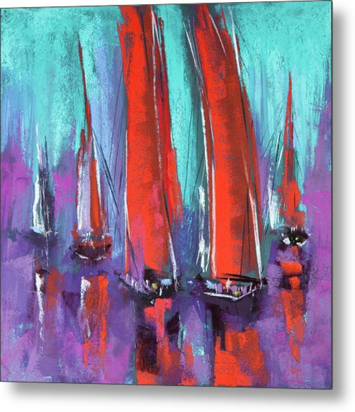 Metal Print featuring the pastel Sailing by David Patterson