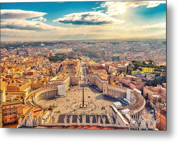 Saint Peters Square In Vatican And Metal Print