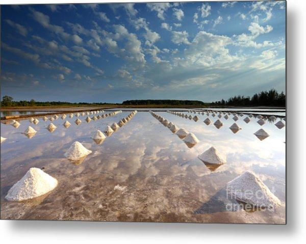 Salt Farm In Eastern, Thailand Metal Print