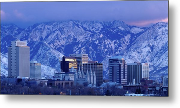 Salt Lake City Skyline With Wasatch Metal Print by John Telford Photographs