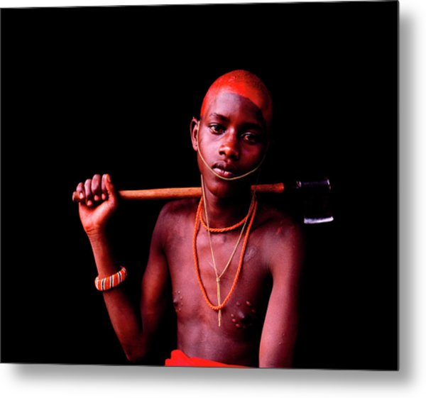 Samburu Initiate With Scars Metal Print