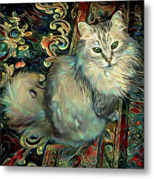 Samson The Silver Maine Coon Cat Metal Print