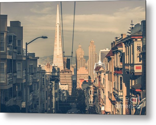San Francisco Cityscape At Sunset With Metal Print
