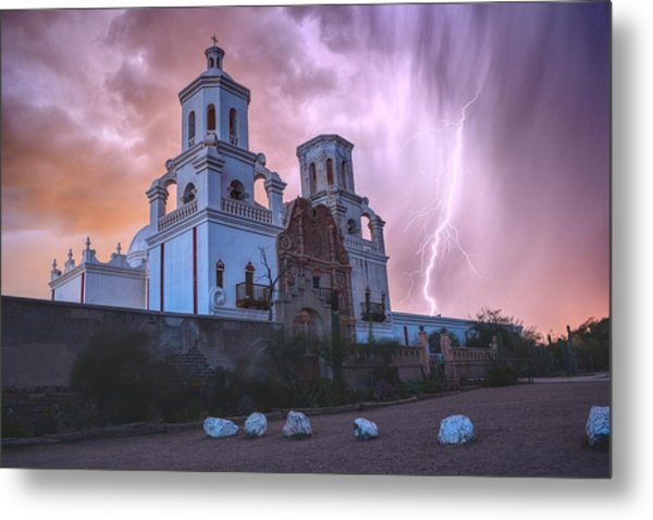 Metal Print featuring the photograph San Xavier Mission Lightning by Chance Kafka