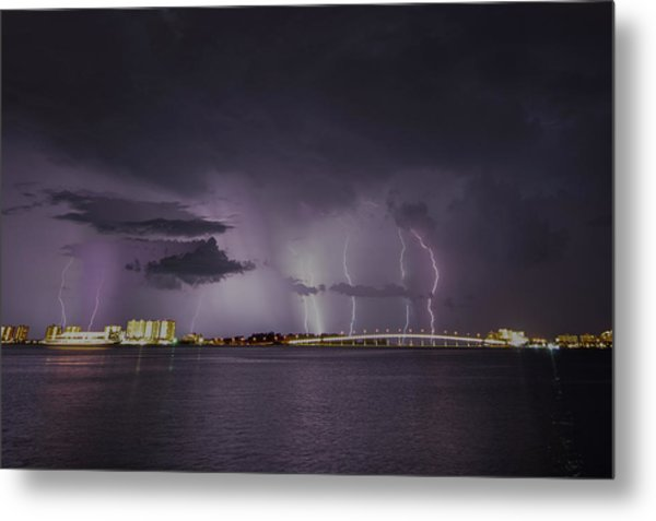 Sand Key Bridge Lightning Metal Print