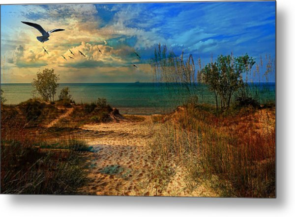 Sand Track To The Ocean At Dusk Metal Print
