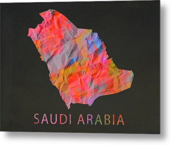 Saudi Arabia Tie Dye Country Map Metal Print