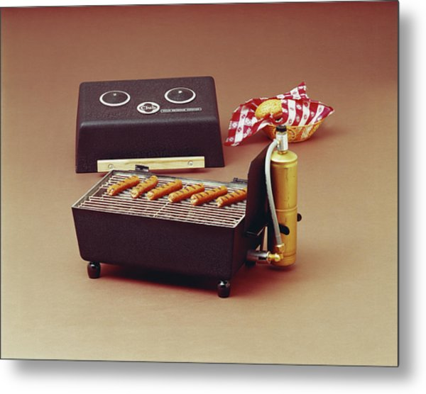 Sausages On Barbecue Grill Metal Print