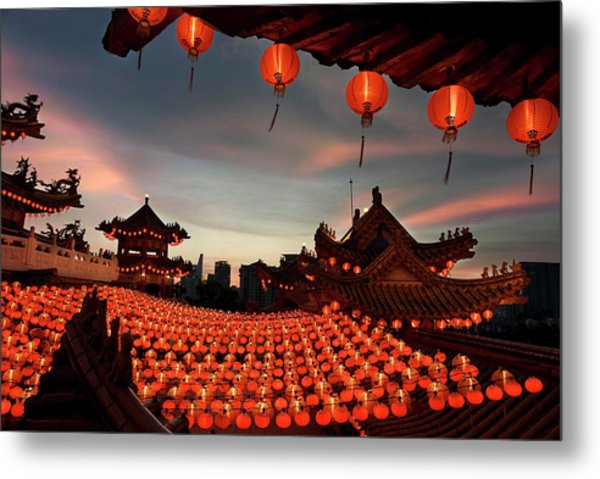 Scene Of Chinese Temple With Lanterns Metal Print by Collinschin