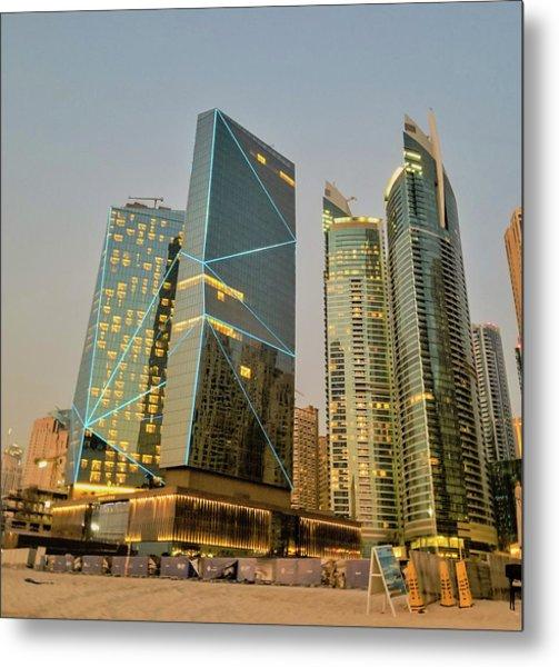 Scene Of Dubai Marina, Dubai, United Arab Emirates Metal Print