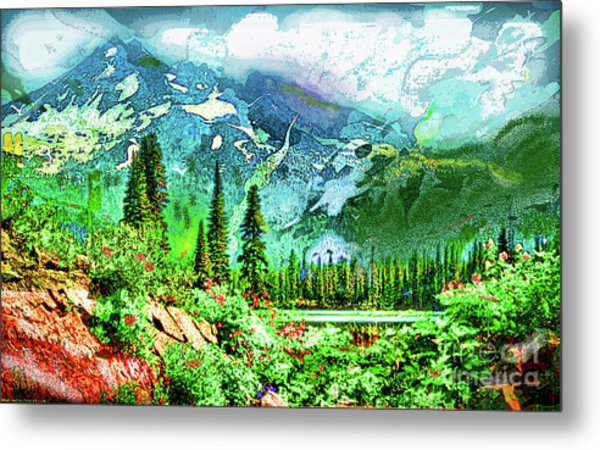 Scenic Mountain Lake Metal Print
