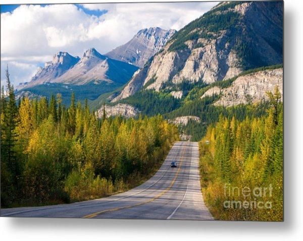 Scenic Road Through Jasper National Metal Print