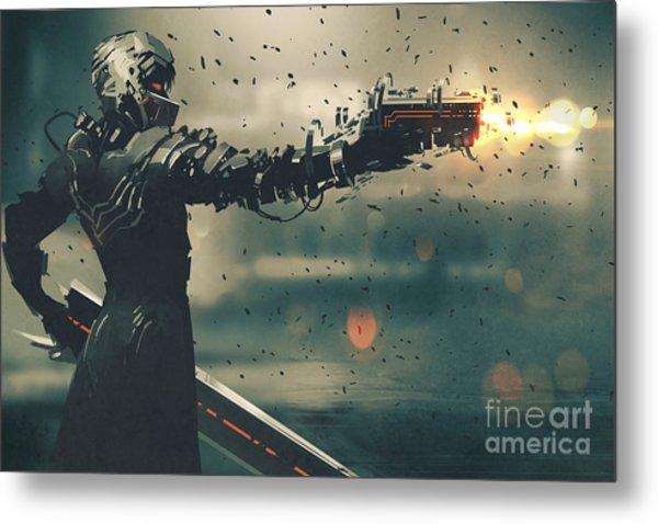 Sci-fi Gaming Character In Futuristic Metal Print