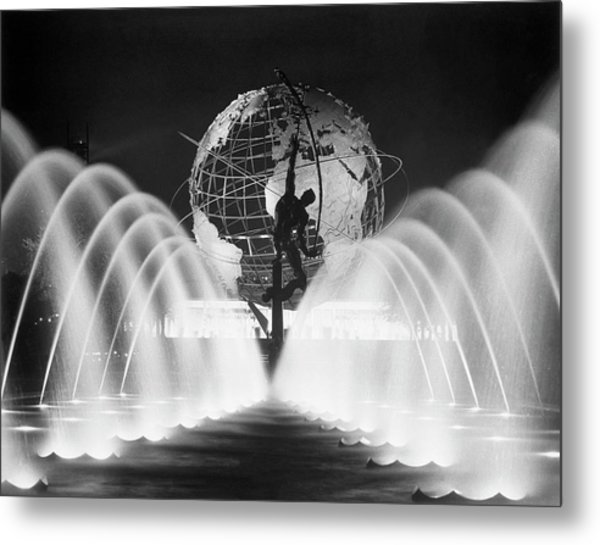 Sculpture, Fountains, And Unisphere At Metal Print by Bettmann
