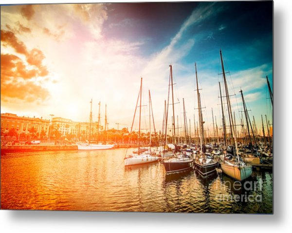 Sea Bay With Yachts At Sunset Metal Print