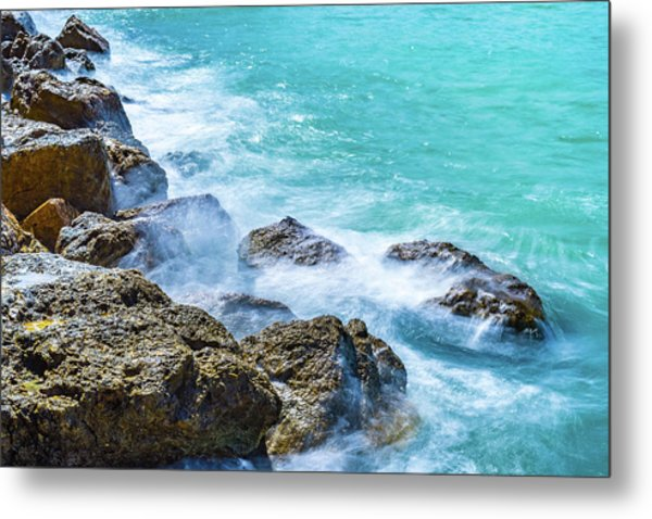 Sea Rocks In Montego Bay Metal Print