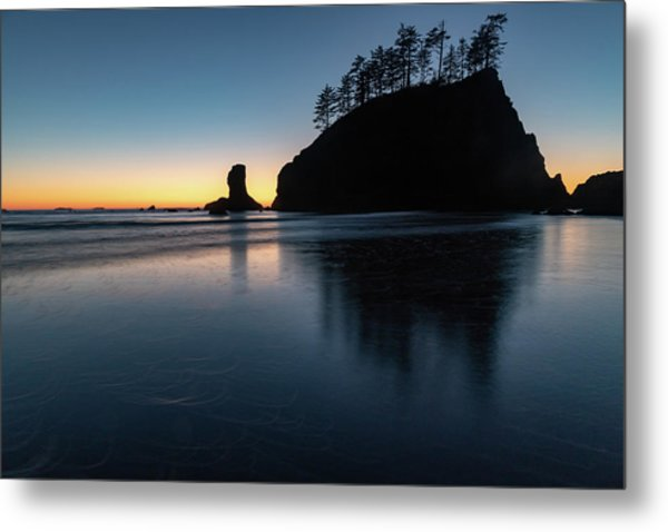 Sea Stack Silhouette Metal Print