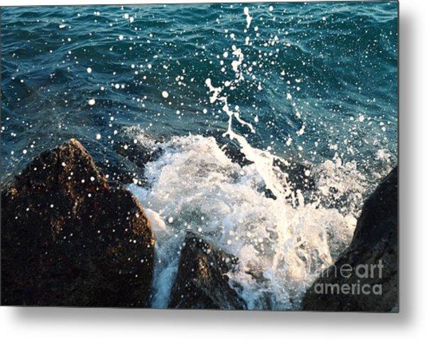 Sea  Wave  Break On Stone,aegean Metal Print by