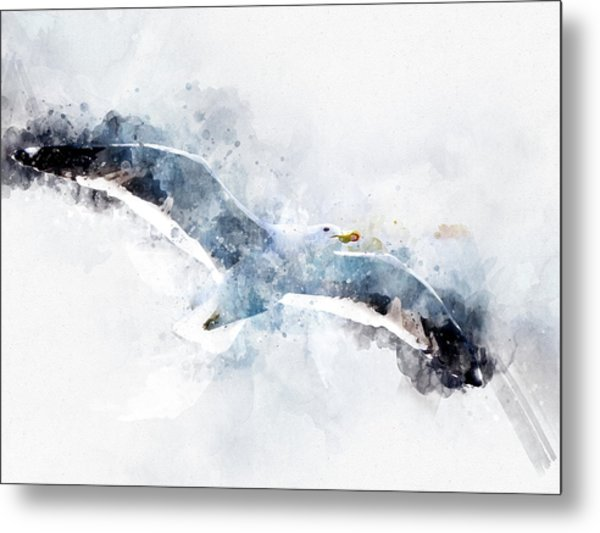 Seagull In Flight With Watercolor Effects Metal Print