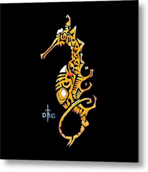Seahorse Golden Metal Print