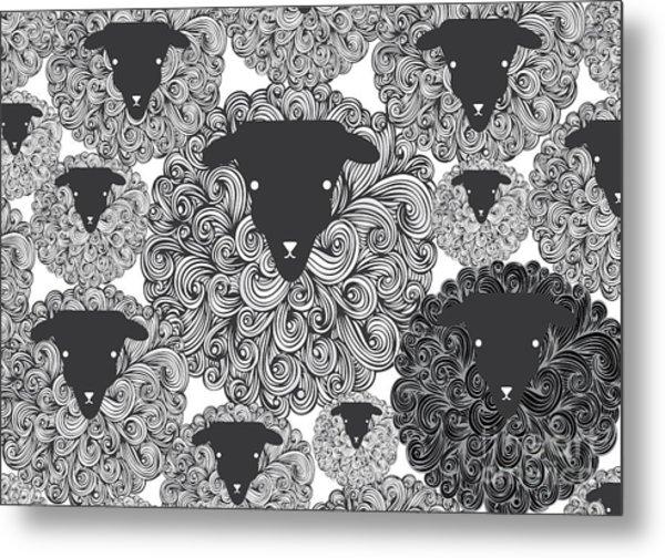 Seamless Black Sheep Illustrationvector Metal Print