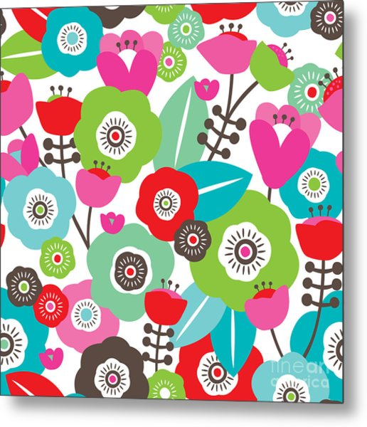 Seamless Colorful Spring Flowers Metal Print