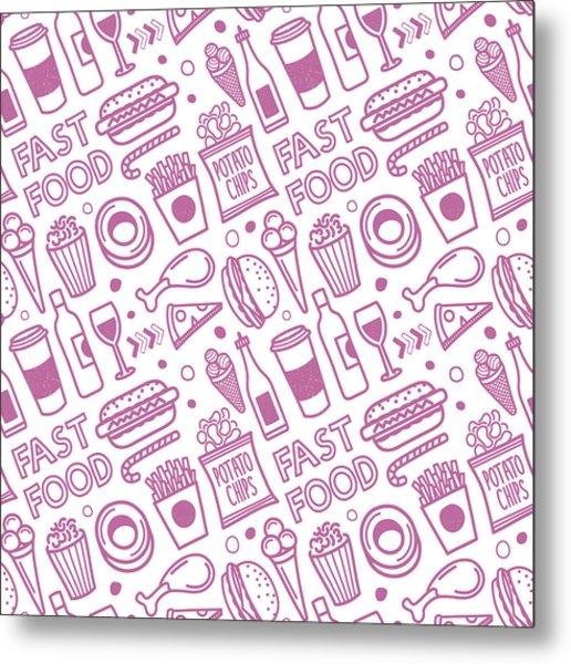 Seamless Fast Food Pattern Metal Print by Ilyast
