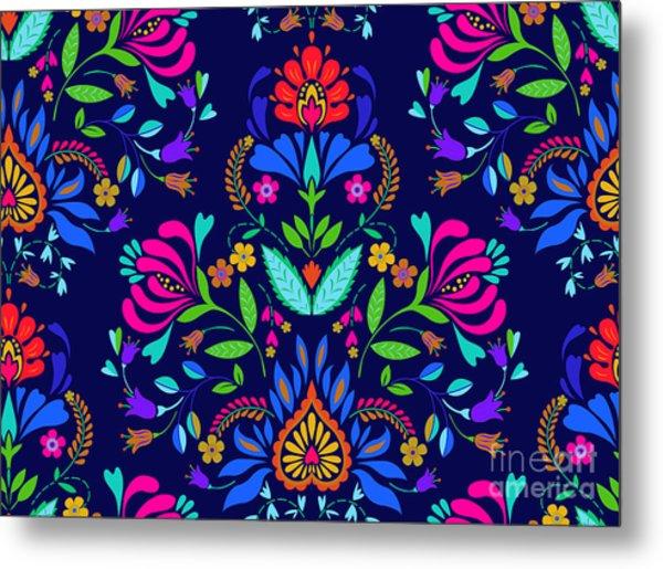 Seamless Floral Folk Pattern. Slavic Metal Print