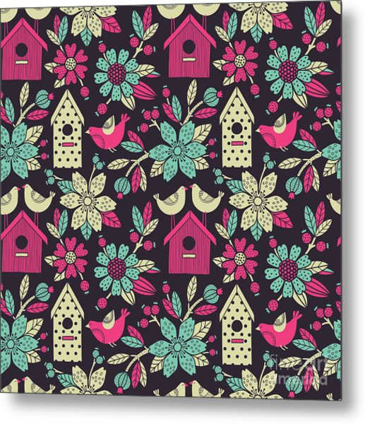 Seamless Floral Pattern With  Birdhouses Metal Print by Tets