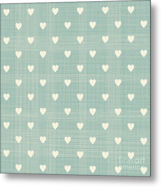 Seamless Hearts Polka Dot Pattern With Metal Print