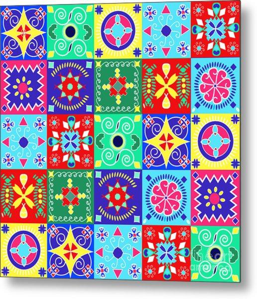 Seamless Pattern  Holiday Cheerful Metal Print