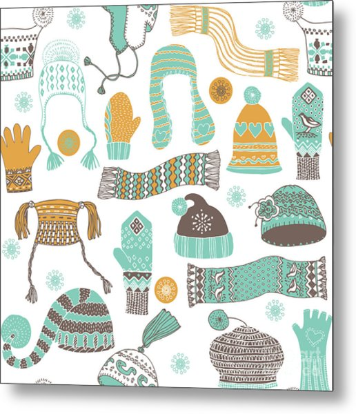 Seamless Pattern Of Winter Woollies Metal Print