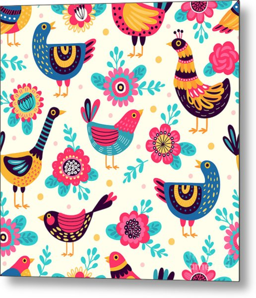 Seamless Pattern With Birds And Metal Print