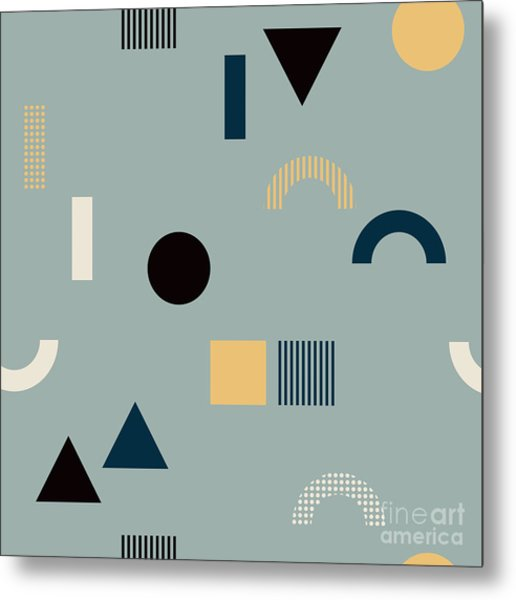 Seamless Pattern With Geometrical Metal Print