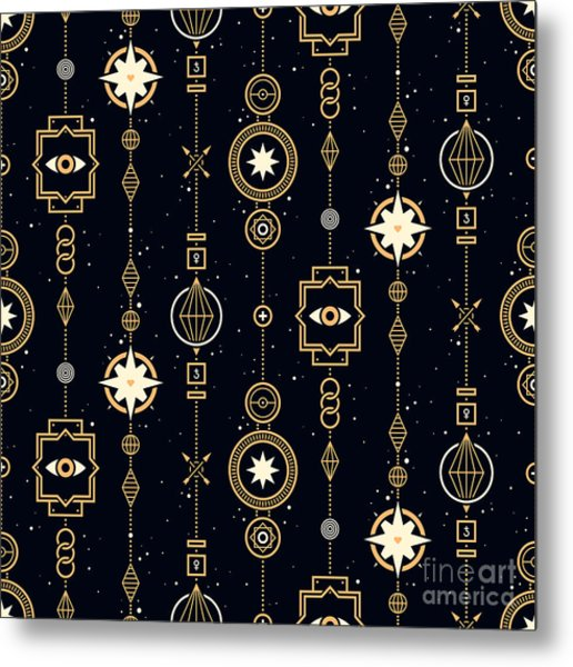 Seamless Pattern With Stars And Magical Metal Print