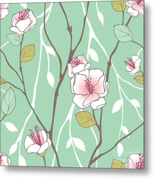 Seamless Pattern With Styled Spring Metal Print