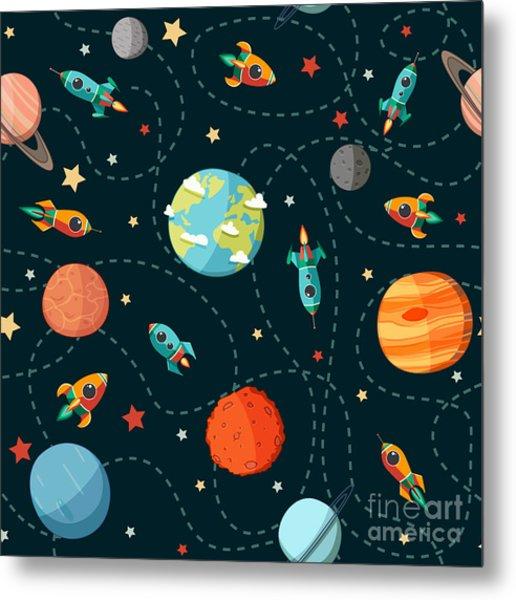 Seamless Space Pattern. Planets Metal Print
