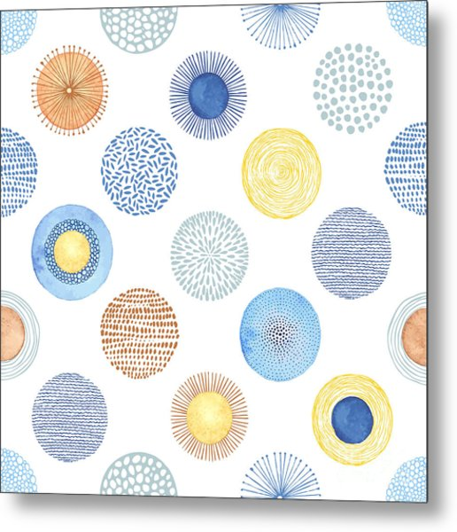 Seamless Summer Pattern With Hand-drawn Metal Print by Nikiparonak