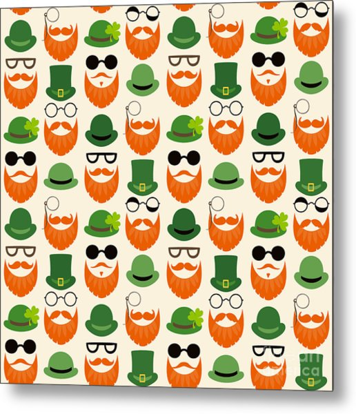 Seamless Vector Pattern With Faces In Metal Print